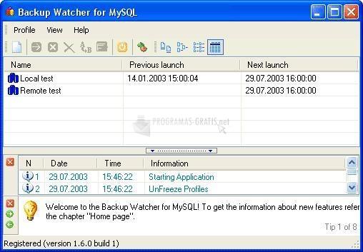 Pantallazo Backup Watcher for MySQL