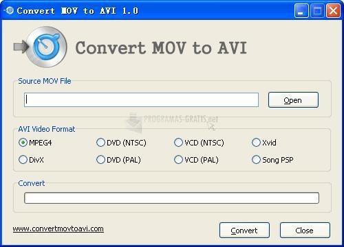 Pantallazo Convert MOV to AVI