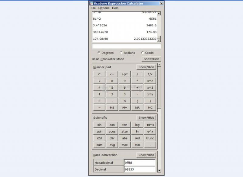 Pantallazo Scabery Expression Calculator