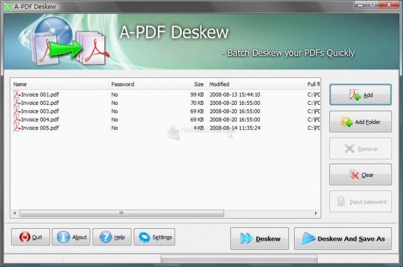 Pantallazo A-PDF Deskew