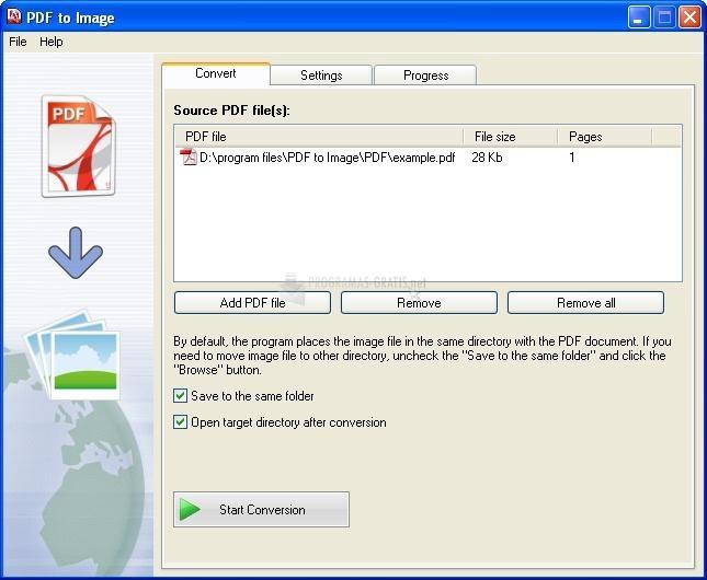 Pantallazo PDF to Image converter