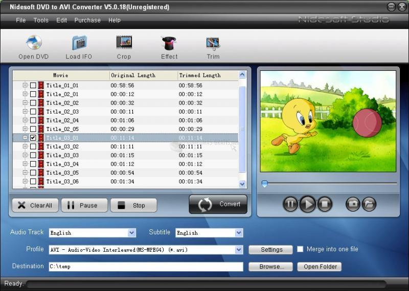 Pantallazo Nidesoft DVD to AVI Converter