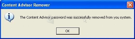 Pantallazo Content Advisor Password Remover
