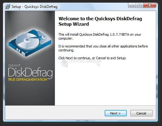Pantallazo Quicksys DiskDefrag Portable