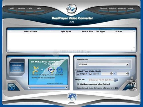 Pantallazo A-Z RealPlayer Video Converter