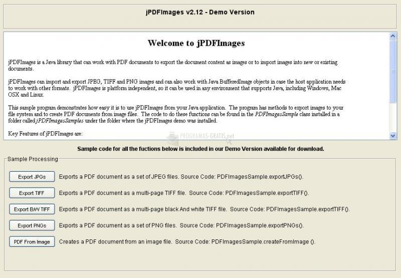 Pantallazo jPDF Images