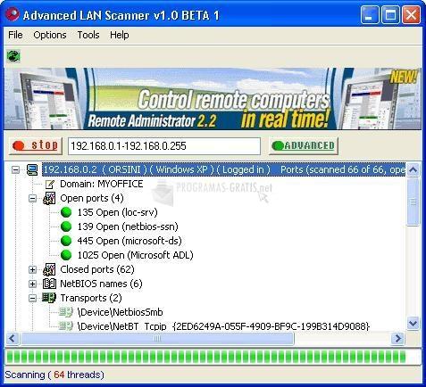 Pantallazo Advanced LAN Scanner