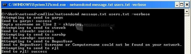 Pantallazo Group Net Send
