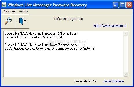 Pantallazo Windows Live Messenger Password Recovery