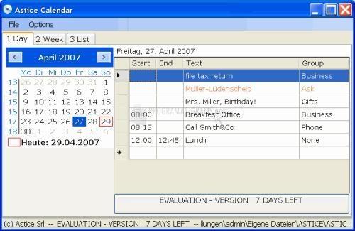 Pantallazo Astice Calendar