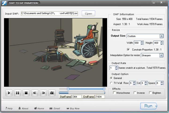 Pantallazo SWF to GIF Animation