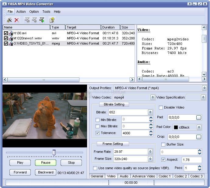 Pantallazo Yasa MP4 Video Converter