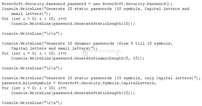 Pantallazo RGenerate Password