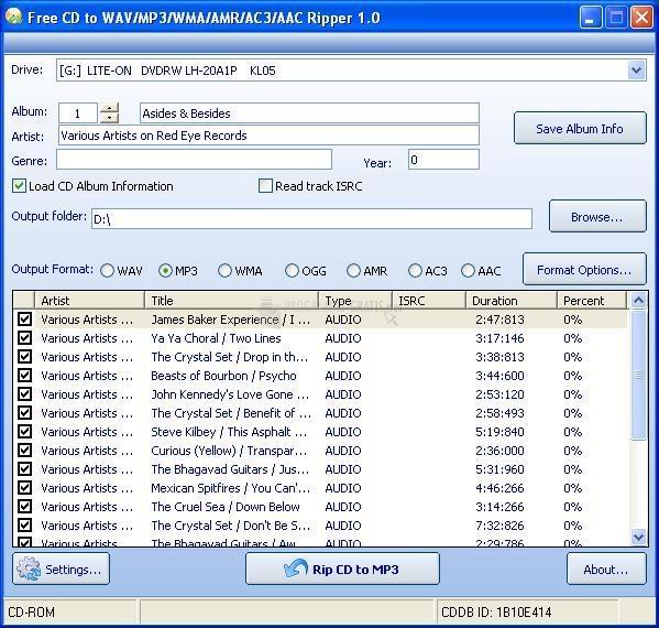 Pantallazo Free CD to WAV MP3 WMA AMR Ripper