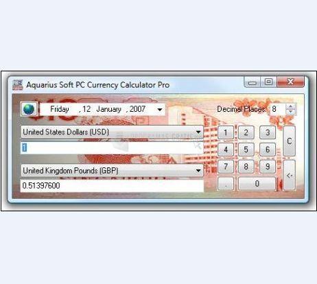 Pantallazo PC Currency Calculator
