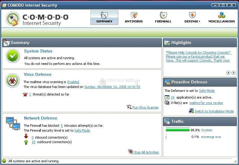 Pantallazo Comodo Internet Security