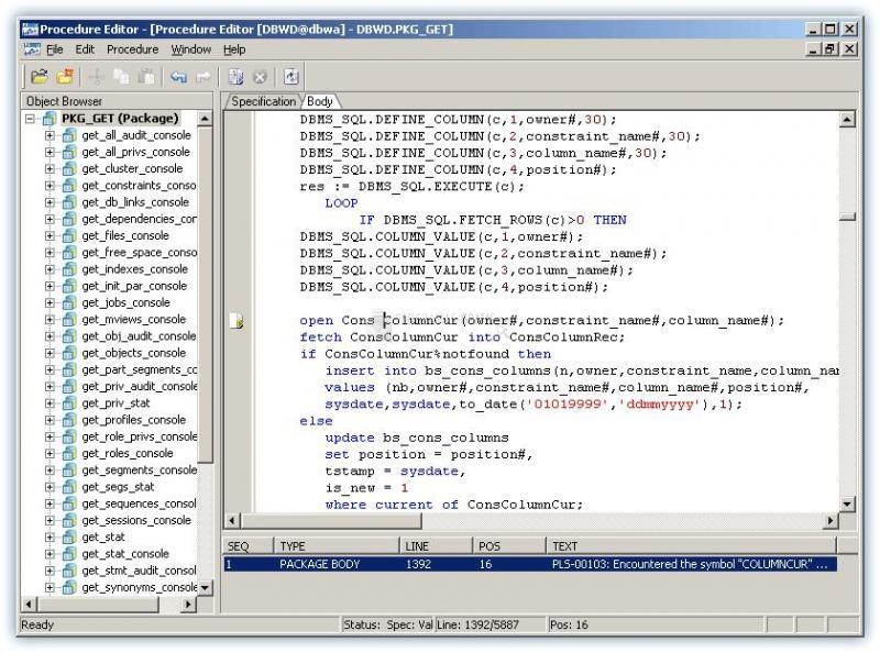 Pantallazo Procedure Editor