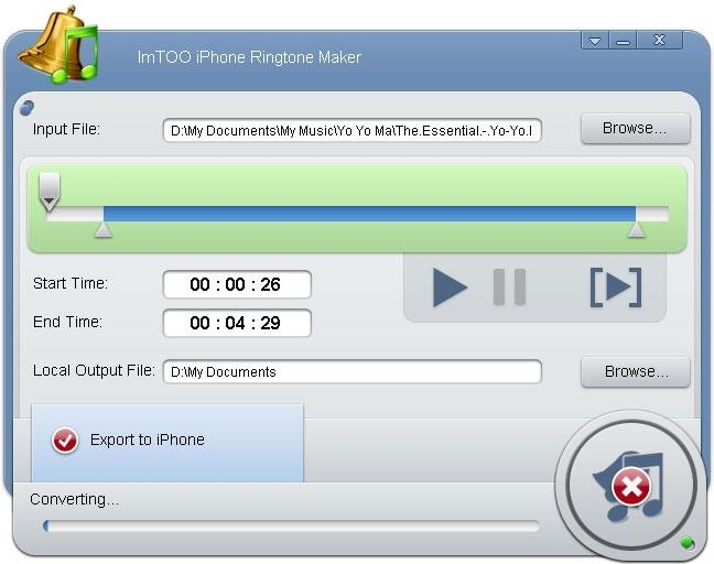 Pantallazo ImTOO iPhone Ringtone Maker