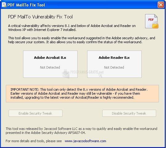 Pantallazo PDF MailTo Fix Tool
