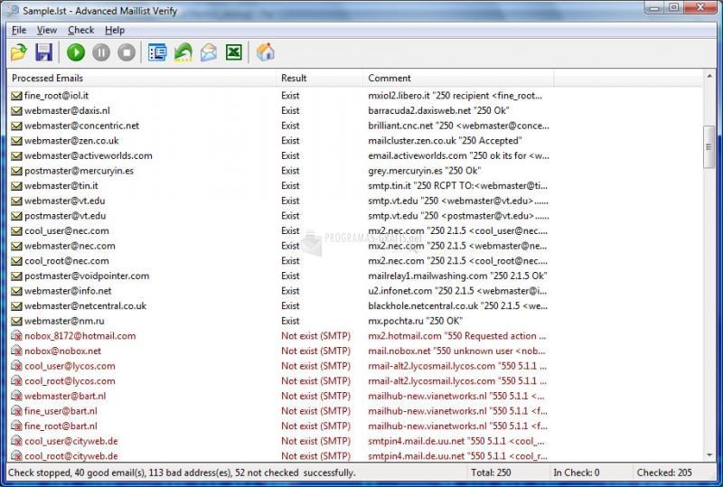 Pantallazo Advanced Maillist Verify