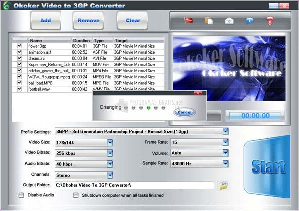 Pantallazo Okoker Video to 3GP Converter