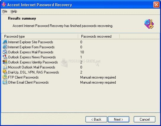 Pantallazo Accent Internet Password Recovery