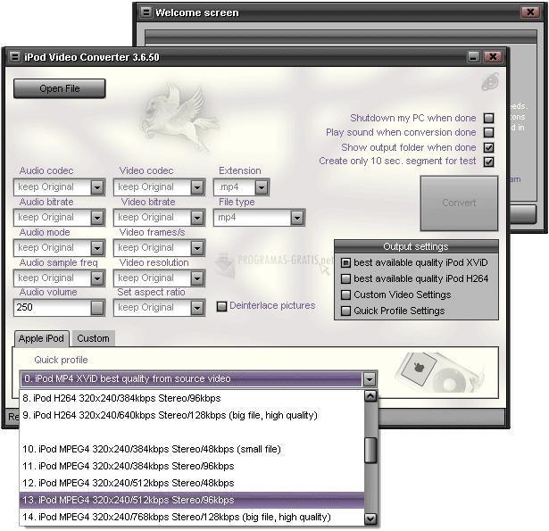 Pantallazo Pegasus iPod Video Converter
