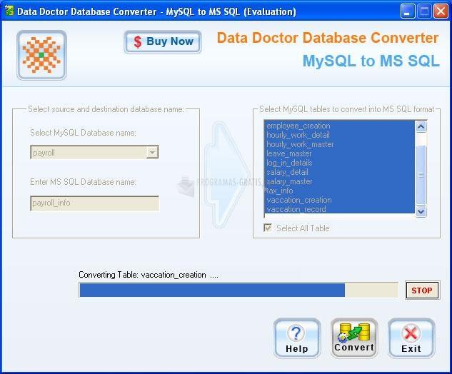 Pantallazo MySQL to MSSQL database converter