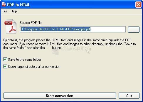 Pantallazo PDF to HTML converter