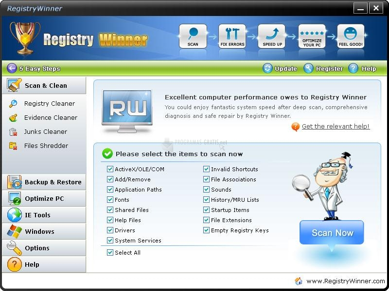 Pantallazo Registry Winner