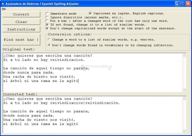 Pantallazo Spanish Spelling Adjuster
