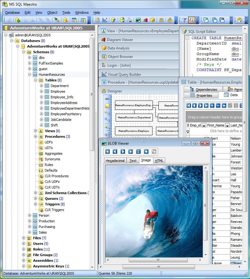 Pantallazo MS SQL Maestro