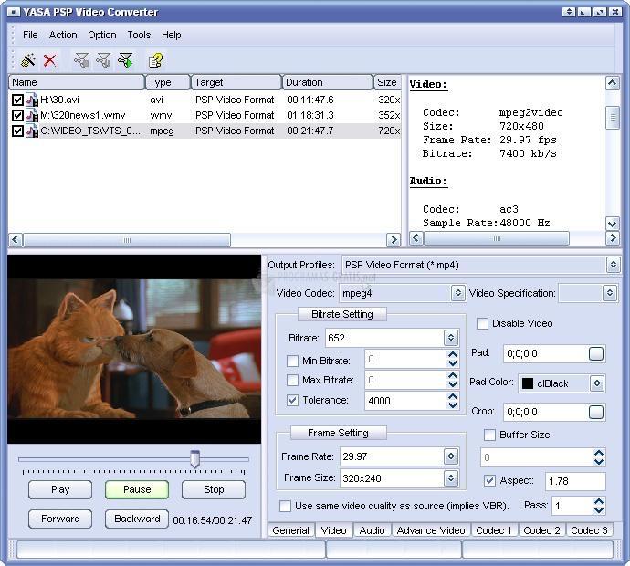 Pantallazo YASA PSP Video Converter