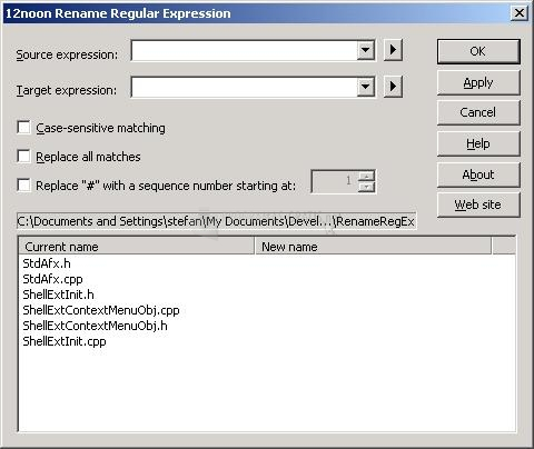 Pantallazo Rename Regular Expression