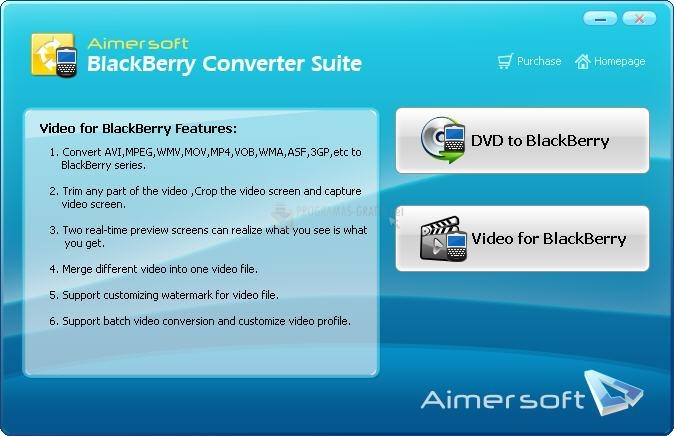 Pantallazo Aimersoft BlackBerry Converter Suite