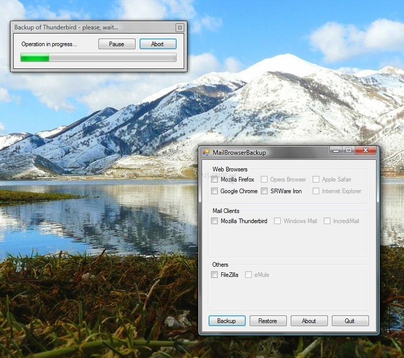 Pantallazo Mail Browser Backup