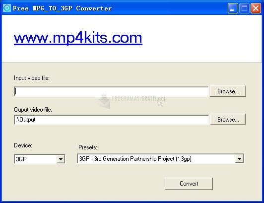 Pantallazo Free MPG to 3GP Converter