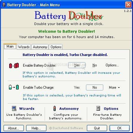 Pantallazo Battery Doubler
