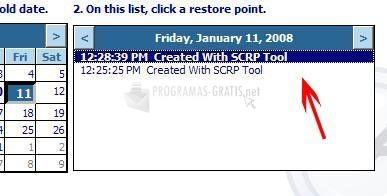 Pantallazo Single Click Restore Point