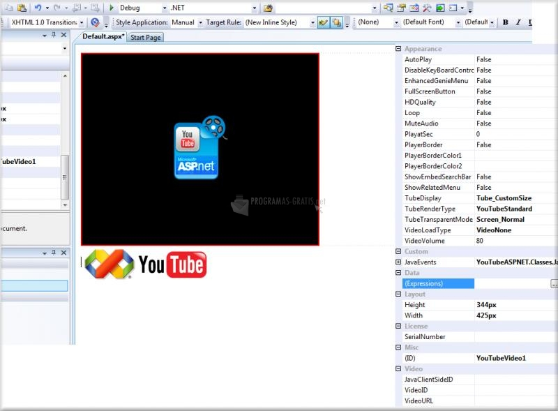 Pantallazo YouTube for ASP.NET
