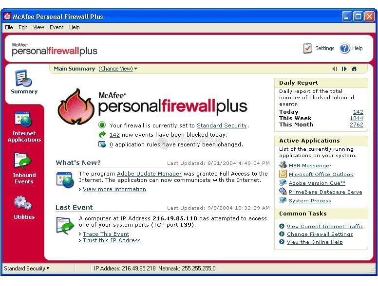Pantallazo McAfee Personal Firewall Plus