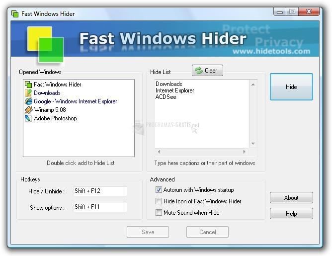 Pantallazo Fast Windows Hider