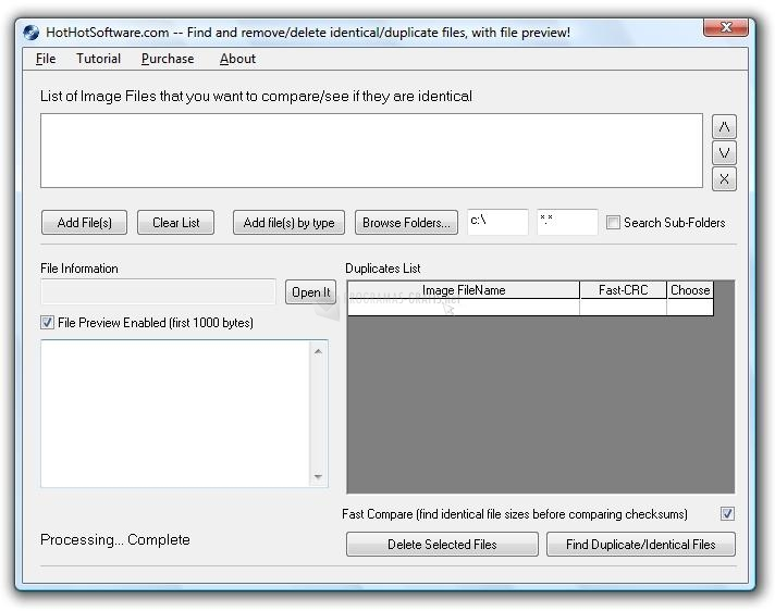 Pantallazo Remove Duplicate File Finder