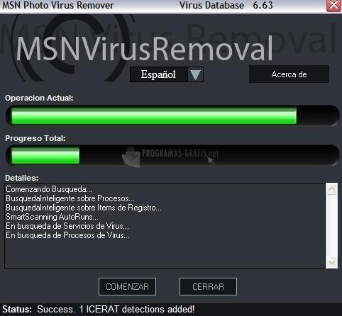 Pantallazo MSN Virus Remover