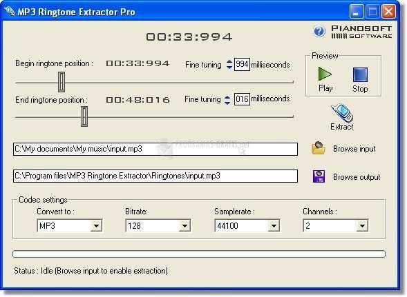Pantallazo MP3 Ringtone Extractor