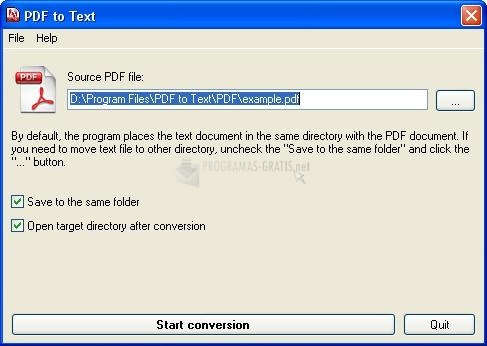 Pantallazo PDF to TEXT Converter