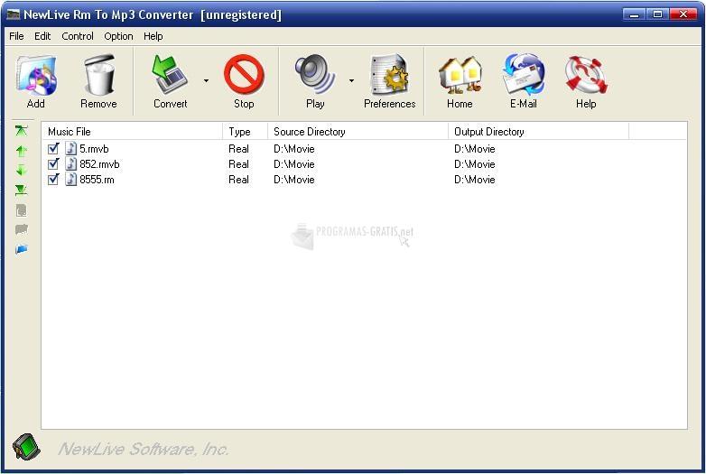Pantallazo Newlive Rm To MP3 Converter