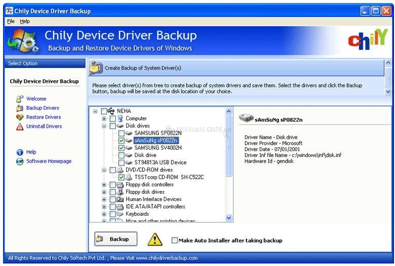 Pantallazo Chily Device Driver Backup
