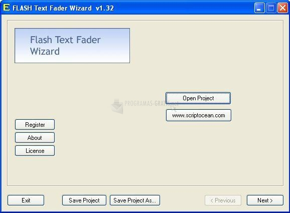 Pantallazo Flash Text Fader Wizard