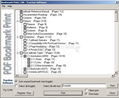 Pantallazo PDF Bookmark Print